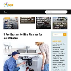 5 Pro Reasons to Hire Plumber for Maintenance - Web bloggers