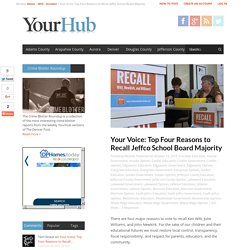 Your Voice: Top Four Reasons to Recall Jeffco School Board Majority