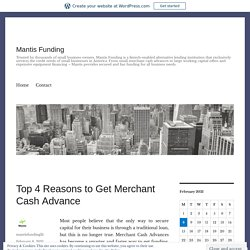 Top 4 Reasons to Get Merchant Cash Advance – Mantis Funding