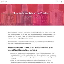 Reasons to use Natural Hand Sanitizer