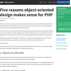 Five reasons object-oriented design makes sense for PHP