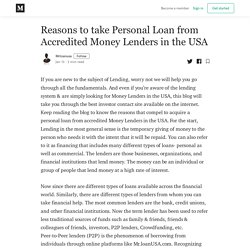 Reasons to take Personal Loan from Accredited Money Lenders in the USA