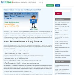 Reasons to avail personal loan from Bajaj finance limited