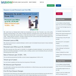 Reasons to avail personal loan from RBL -Letzbank