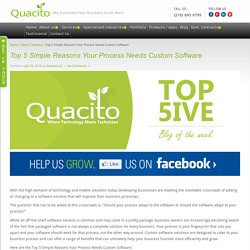 Top 5 Simple Reasons Your Process Needs Custom Software