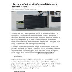 5 Reasons to Opt for a Professional Gate Motor Repair in Miami