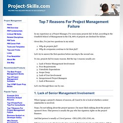 Top 7 reasons for project management failure