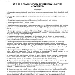 25 Reasons Psychiatry Must Be Abolished