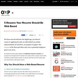 5 Reasons Your Resume Should Be Web Based