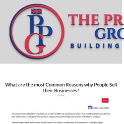 The Most Common Reasons for Selling a Business