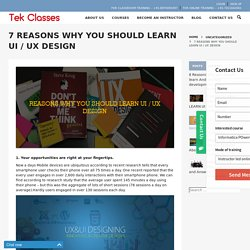 7 REASONS WHY YOU SHOULD LEARN UI / UX DESIGN