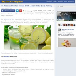 16 Reasons Why You Should Drink Lemon Water Every Morning