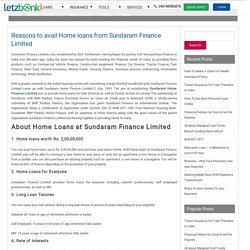 Reasons to avail Home loans from Sundaram Finance Limited