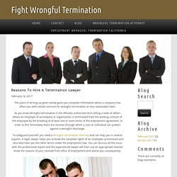 Reasons To Hire A Termination Lawyer
