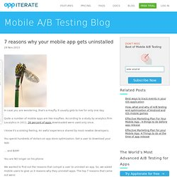 7 reasons why your mobile app gets uninstalled