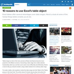 10 reasons to use Excel's table object
