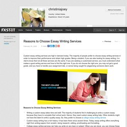 Reasons to Choose Essay Writing Services