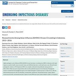 CDC EID - MARS 2019 - Reassortments Among Avian Influenza A(H5N1) Viruses Circulating in Indonesia, 2015–2016