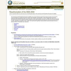 Reauthorization of the IDEA 2004 - Laws, Regulations, & Policies