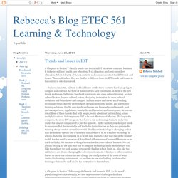 Rebecca's Blog ETEC 561 Learning & Technology: Trends and Issues in IDT