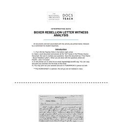 Boxer Rebellion Letter Witness Analysis