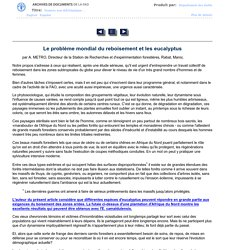 Unasylva - Vol. 6, No. 3 - Le problème mondial du reboisement et les eucalyptus