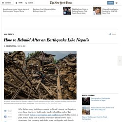 How to Rebuild After an Earthquake Like Nepal's