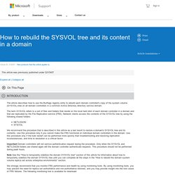 How to rebuild the SYSVOL tree and its content in a domain