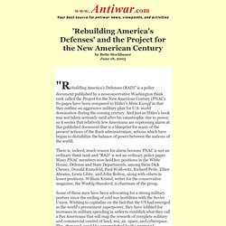 'Rebuilding America's Defenses' and the Project for the New Amer