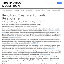 Rebuilding Trust in a Romantic Relationship - Truth About Deception