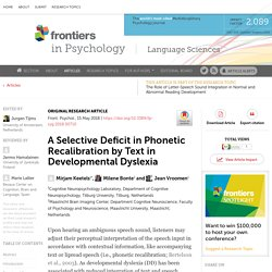 A Selective Deficit in Phonetic Recalibration by Text in Developmental Dyslexia
