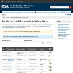 Recalls, Market Withdrawals, & Safety Alerts