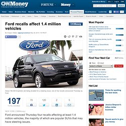 Ford recalls affect 1.4 million vehicles - May. 29, 2014