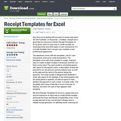 Receipt Templates for Excel - Free software downloads and software reviews