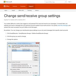 Change send/receive group settings - Outlook