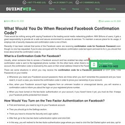 What Would You Do When Received Facebook Confirmation Code?