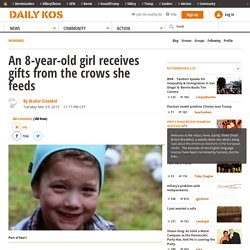 An 8-year-old girl receives gifts from the crows she feeds