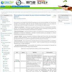 "Recensement et analyse de jeux environnementaux (""green games"")"