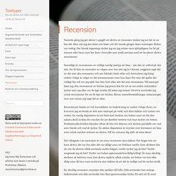 Recension – Texttyper