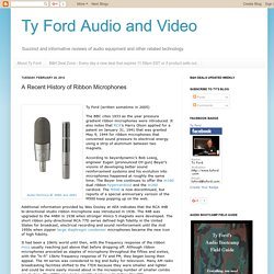 Ty Ford Audio and Video: A Recent History of Ribbon Microphones