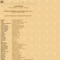 Lexicon Recentis Latinitatis, parvum verborum novatorum Léxicum