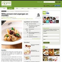 Recept voor witte pensen met asperges en morilles