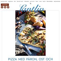 Recept: Pizza med päron, ost och valnötter