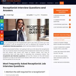 Receptionist Interview Questions And Answers - Medical Job