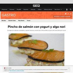 Receta: Pincho de salmón con yogurt y alga nori