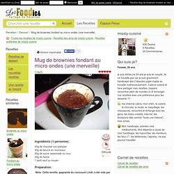 Recette de Mug de brownies fondant au micro ondes (une merveille)