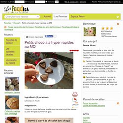 Recette de Petits chocolats hyper rapides au MO
