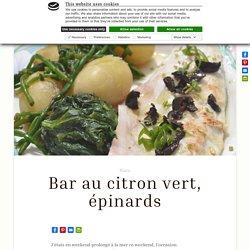 Bar de la criée, citron vert, épinards et olives noires