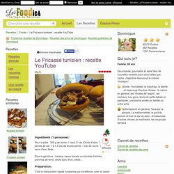 Le Fricassé tunisien : recette YouTube