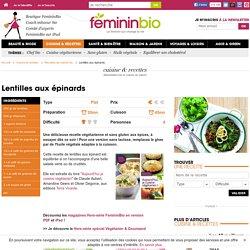 Recette Lentilles aux épinards